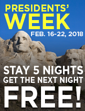 Presidents' Week, Feb. 16-22, 2018: Stay 5 nights, get the next night free!