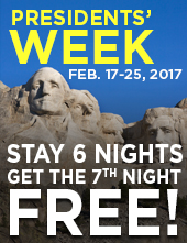 Presidents' Week Feb 17-25, 2017: Stay 6 nights get the 7th night FREE!