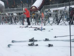 snow covered skis