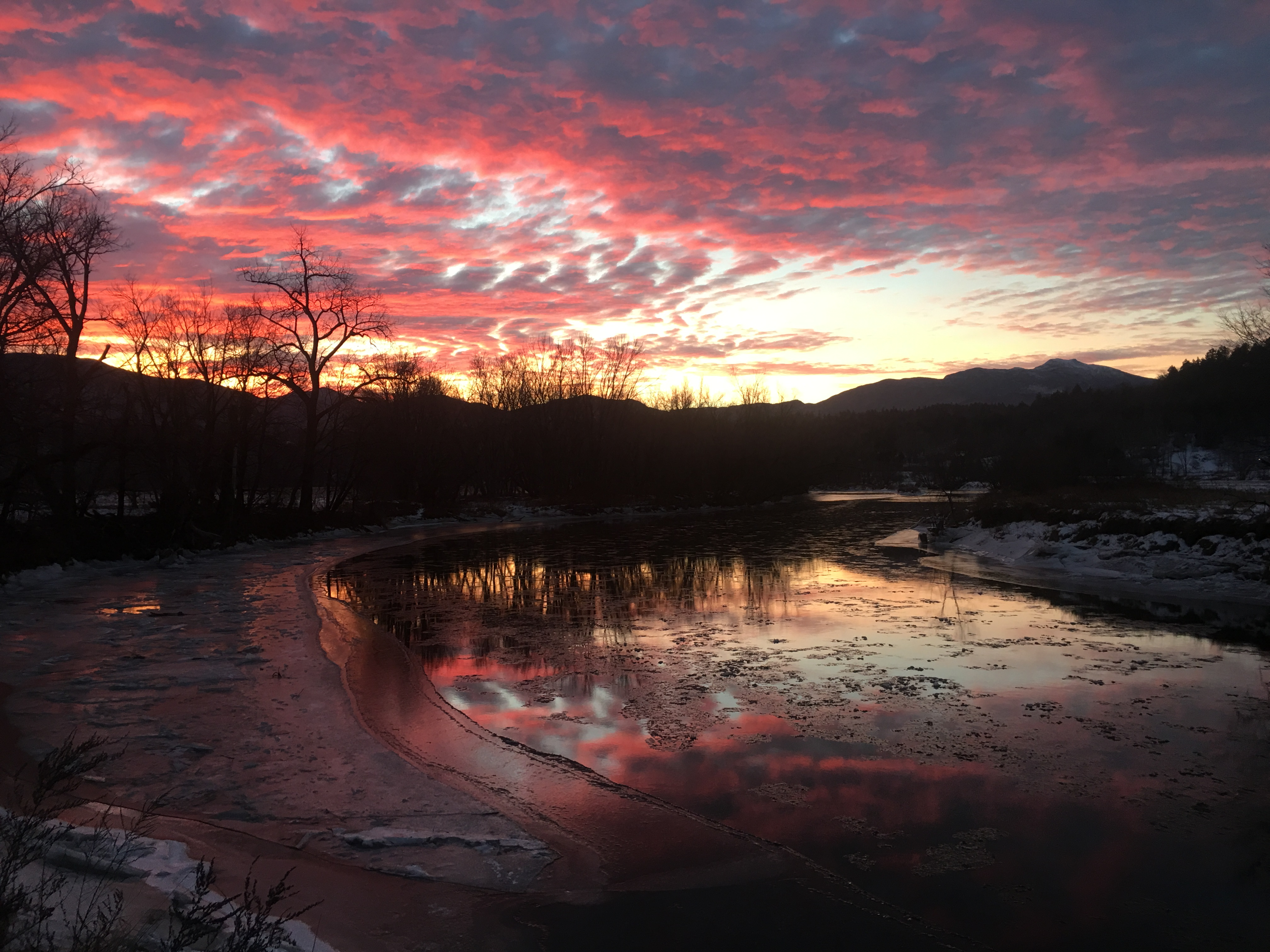 Sunrise by the Lamoille River December 26, 2016