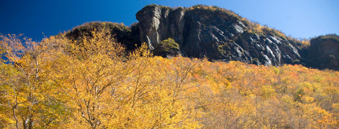 Fall view of Elephants Head in Smugglers' Notch Pass