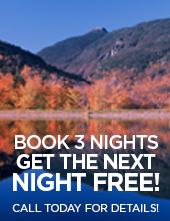 Book 3 nights get the next night free! Call today for details!