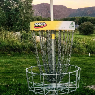 Disc Golf Basket with a view
