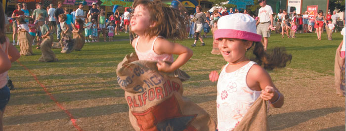 Sack race at the Vermont Country Fair
