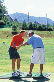 Golf clinic at the driving range at Smugglers' Notch Resort