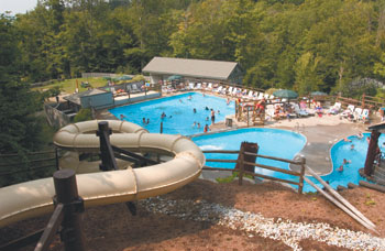 Overview of Smugglers' Notch Resort's Notchville Park with Twister waterslide