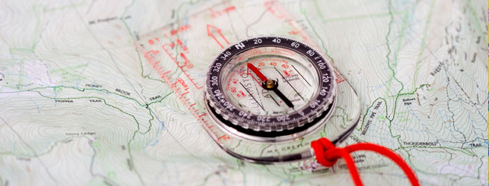 Compass and map for geocaching