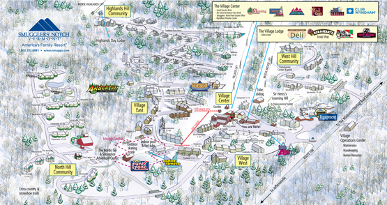 Smugglers39 Notch Vermont  Resort Map