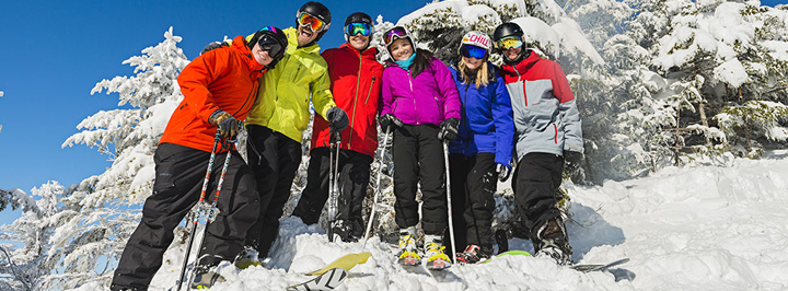 Group skiers and riders