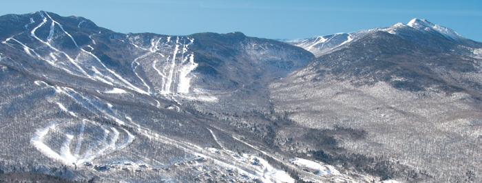 Aerial view of Smugglers' Notch Vermont ski trails