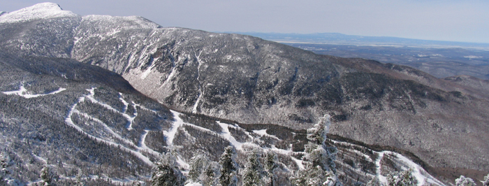 Aerial view of Smugglers' Notch ski trails