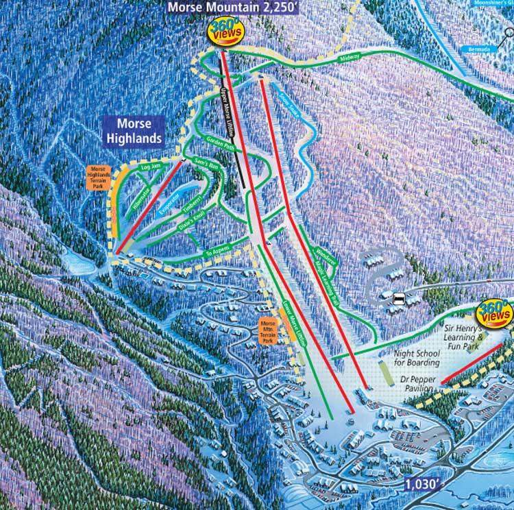 Trail Map Pop-Up Morse Mountain on pico peak ski map, pagosa springs co ski map, vermont ski map, lea sd ski map, smugglers map mountain, sugarbush ski map, smuggler s notch map, jay peak ski map, park city ski map, weston ski map, vermont smugglers' notch map,